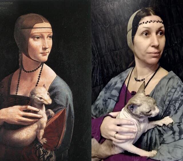 Как (не)сойти с ума на карантине: в сети начали массово воспроизводить живые копии известных картин