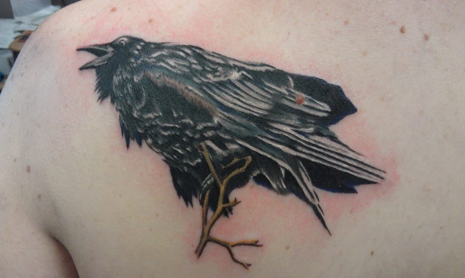 Raven Watercolor Tattoo