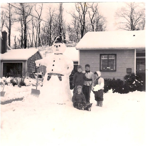 Lorraine with friends and snowman 1950s Tarrytown