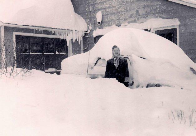 Mom in snow, Tarrytown 1950s