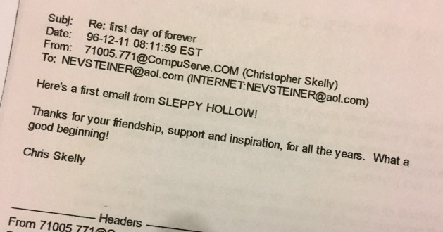 Day one email from Skelly to Steiner