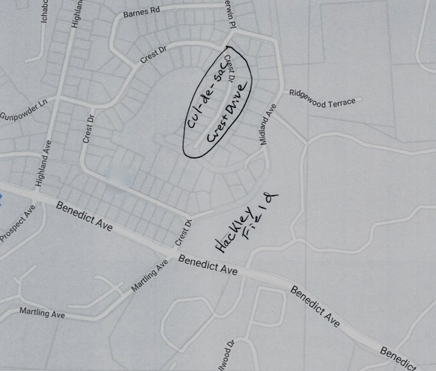 Map showing the cul-de-sac and the field