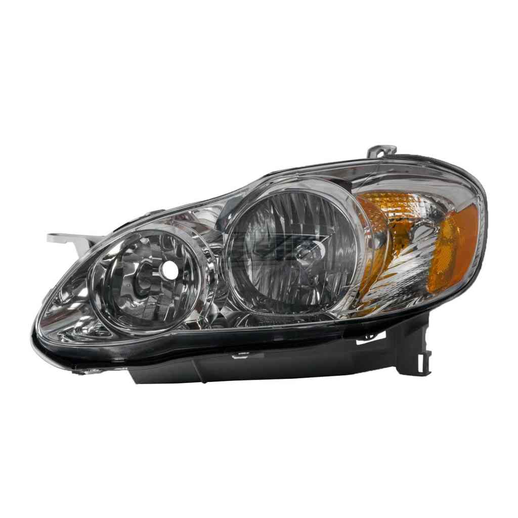 Headlight Halogen Black Housing 2005-2008 Toyota Corolla S and XRS