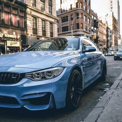 blue bmw car in new york