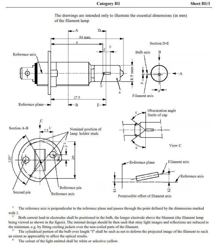h1 filament lamp