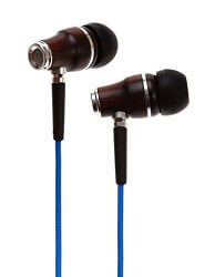 blue Symphonized NRG Premium Wood Earbuds white backgorund
