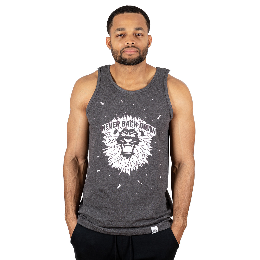 """Never Back Down"" Tank Charcoal Grey"