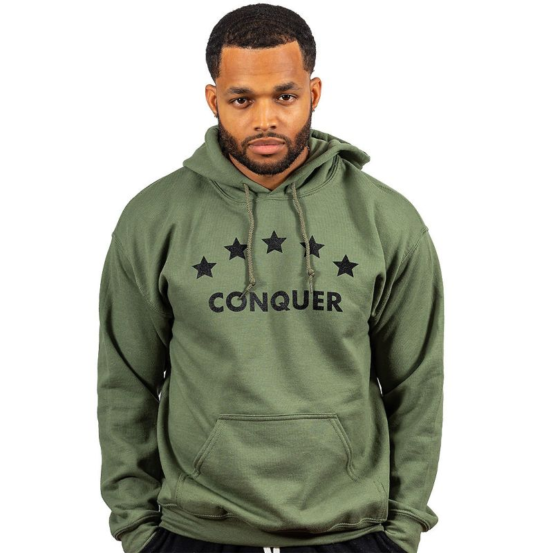 "Unisex ""Conquer"" Hoodie Military Green"