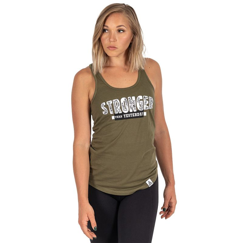 "WMNS ""Stronger Than Yesterday"" Racerback Tank Military Green"