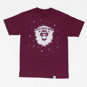 """Never Back Down"" Tee Burgundy"