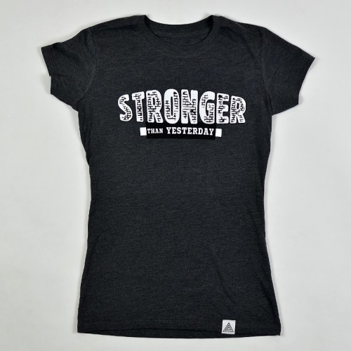 """WMNS """"Stronger Than Yesterday"""" Tee Charcoal Heather"""