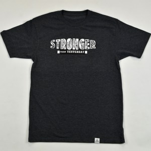 """Stronger Than Yesterday"" Tee Charcoal Heather"