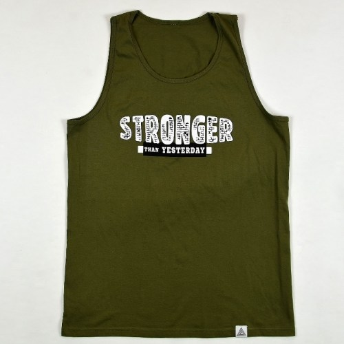 """Stronger Than Yesterday"" Tank Military Green"