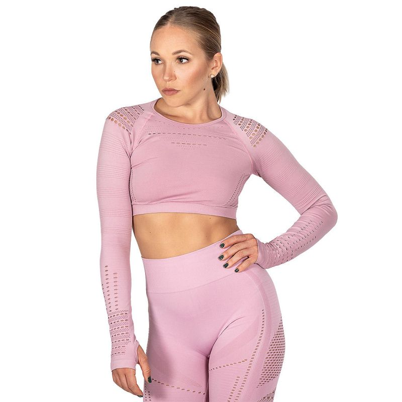 HeadQuarters Cutout Seamless Crop Top Pink