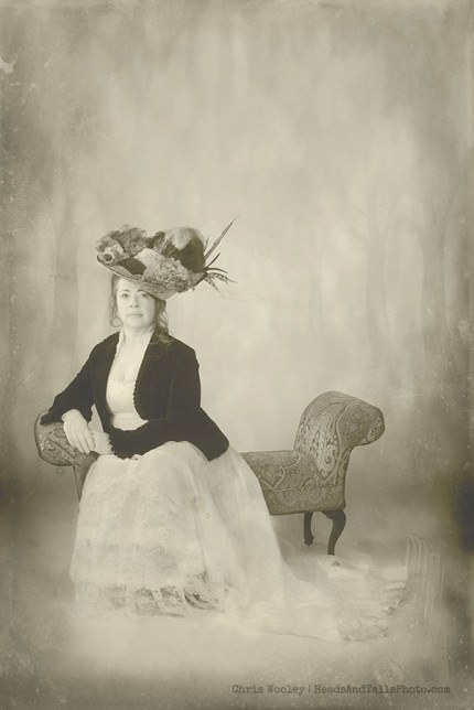 "A photographic response to the classic ""Gibson Girl"" showing a full figured woman in a respectable way."