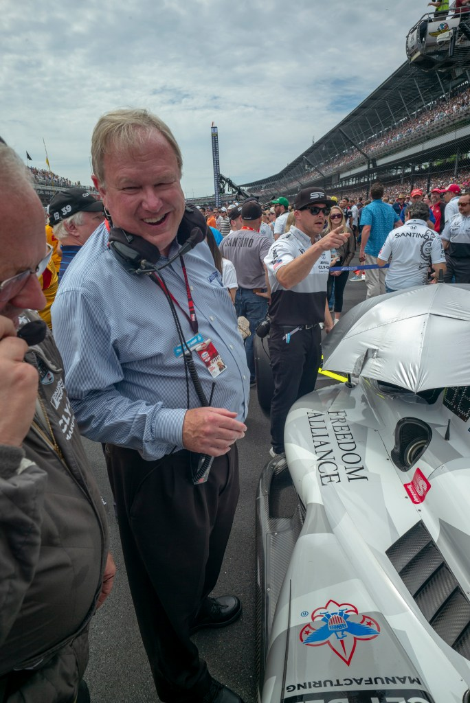 Dale Coyne at #19 car as it's on the grid for Indianapolis 500.