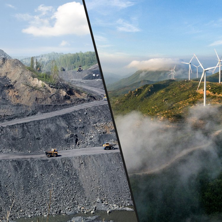Split image with trucks driving down into coal mine on one side and wind turbines atop a green hill at sunset on the other.