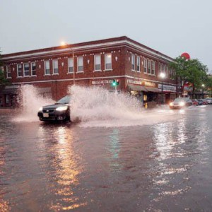 Flooding on the streets in downtown Grand Island, Nebraska.