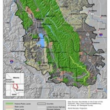 Map showing Montana portion of Crown of the Continent