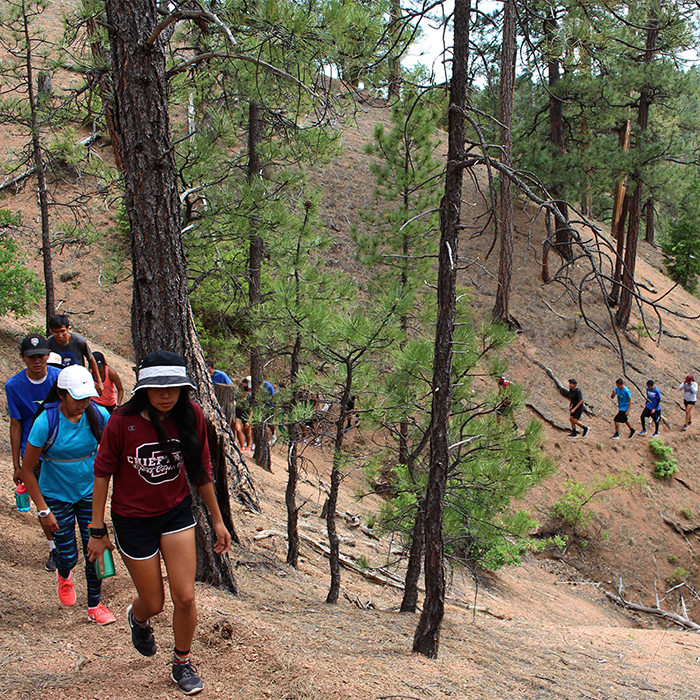 A group hike in New Mexico.
