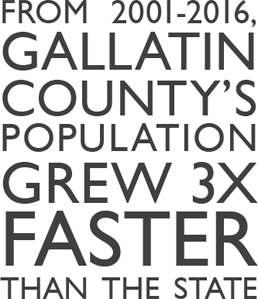 From 2001-2016, Gallatin County's population grew 3x faster than the state