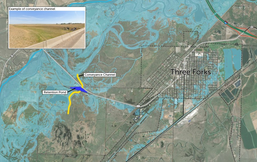 Proposed flood risk mitigation. Three Forks, Montana