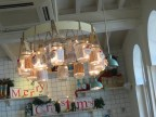 """Chandelier made of Mason Jars, at """"The Pantry"""" Tea house in Kala Ghoda"""