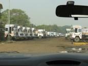Trucks staged near docks at Flamingo Point