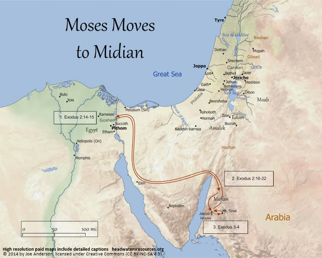 Image result for After Moses killed the Egyptian, he fled to Midian,