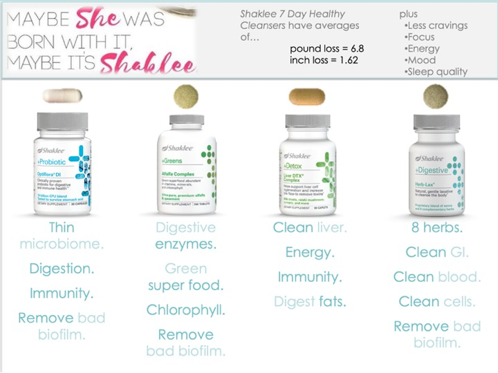 Maybe she was BORN with it… ------- maybe it's SHAKLEE! -------  Shaklee cleansers have averages of  ------- 6.8 pound loss  ------- 1.62 inch loss  ------- Plus ------- Less cravings, More focus ------- Energy, Mood And Sleep quality. -------
