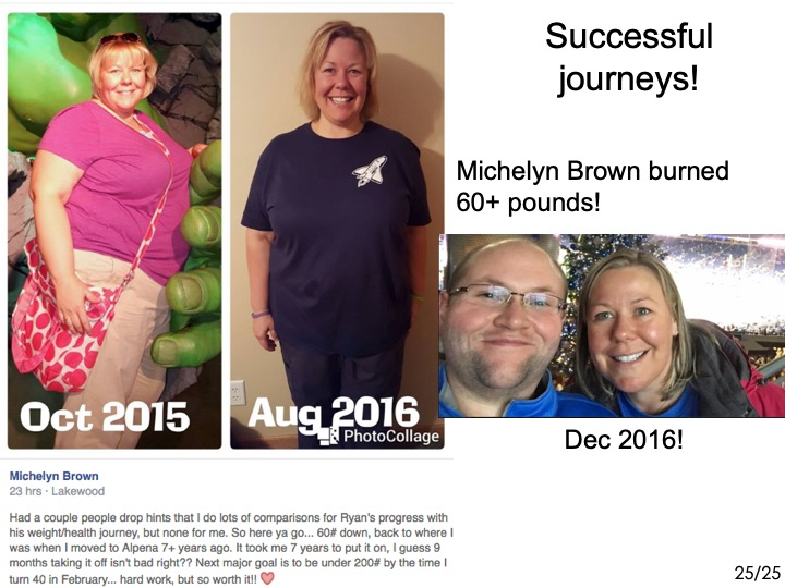 -Michelyn Brown burned 60+ pounds  ------- -over the last year or so! ------- -She looks about 15 years younger  ------- -and her skin isn't red and blotchy anymore! -------