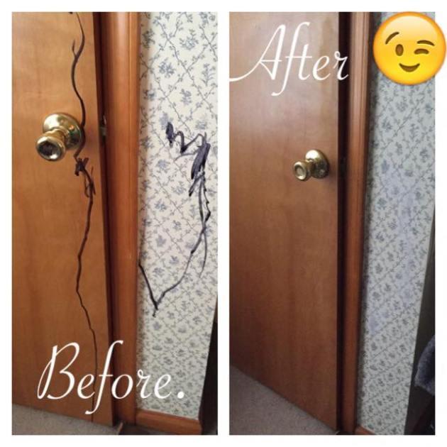 door with markers