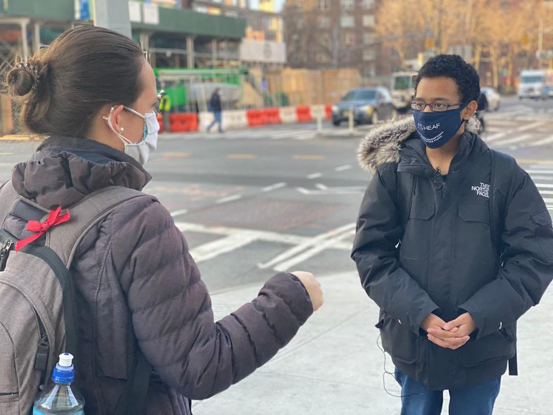 Angel Gomez, a HEAF student, being interviewed by Spectrum News New York One