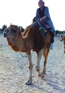 Karl Burrill on a camel, Sahara desert Tunsia