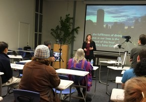 Lari Snorek-Yates, CS giving her talk at Pacific School of Religion