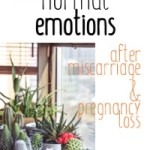 A variety of cacti on a window ledge with the text: 15 normal emotions after miscarriage and pregnancy loss