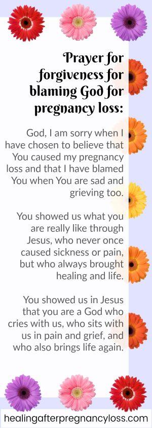 Prayer asking God for forgiveness for blaming Him after pregnancy loss