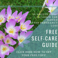 Pink snowdrops with writing: Free self-care guide
