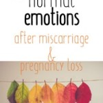 Rainbow leaves and text: 15 normal emotions after miscarriage and pregnancy loss
