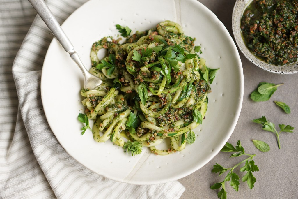 Zucchini Pasta with Bacon Pesto (HFE)