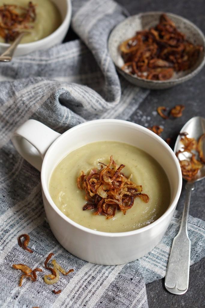 Celeriac Soup Crispy Shallots - AIP