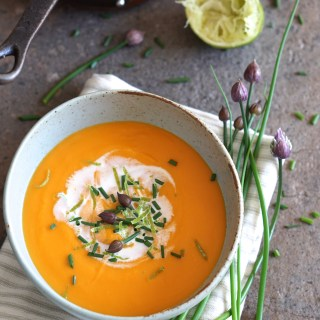 Sweet Potato and Lime Soup with Coconut and Chives {AIP, Paleo}