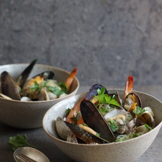 Mussels, Clams and Shrimps in a Fragrant Broth with Kelp Noodles {AIP, GAPS, SCD, Paleo}