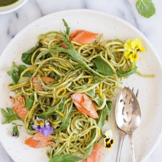 Wild Salmon with Zucchini Noodles, Baby Leaves and a Basil Dressing {AIP, GAPS, SCD, Paleo}
