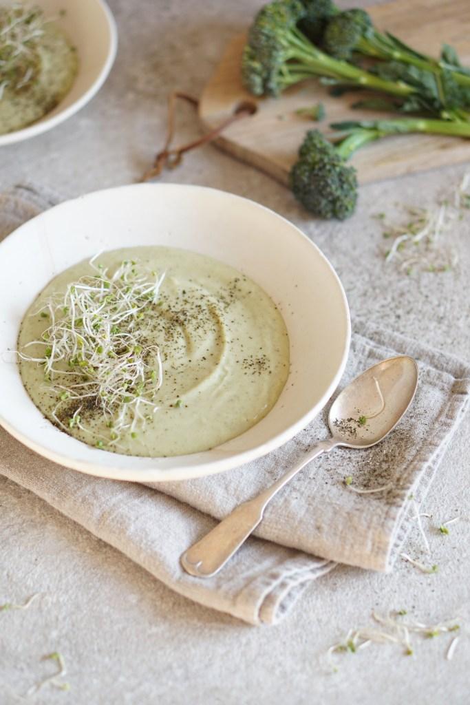 sweet potato broccoli soup kelp flakes
