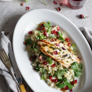 Marinated Chicken Pomegranate Rosewater Dressing