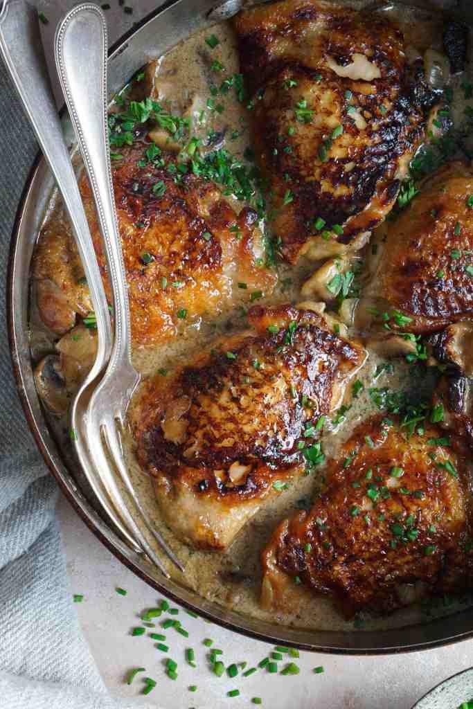 Creamy Chicken Thighs Mushroom Chives