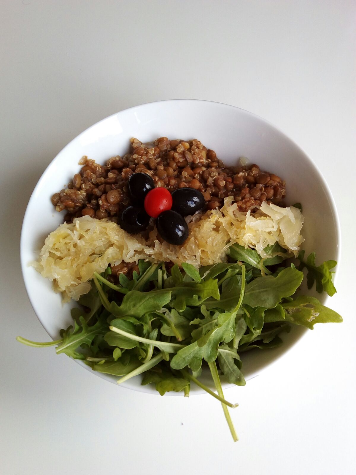 Lentils with sauerkraut and quinoa