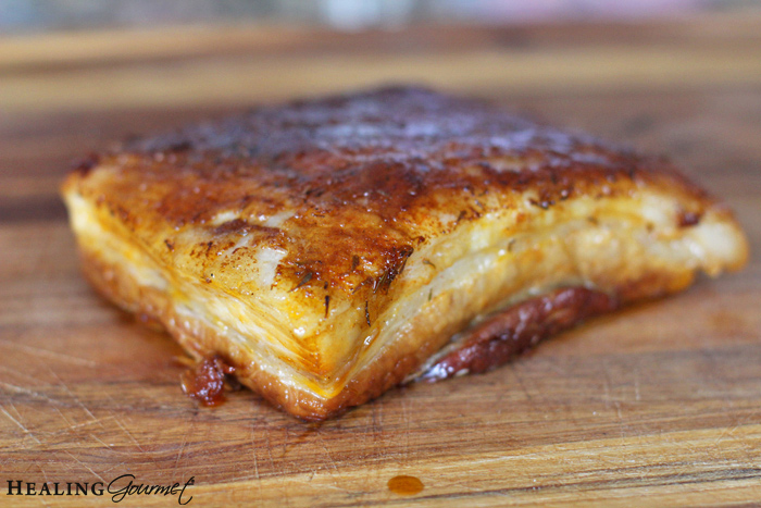pork belly recipe on cutting board