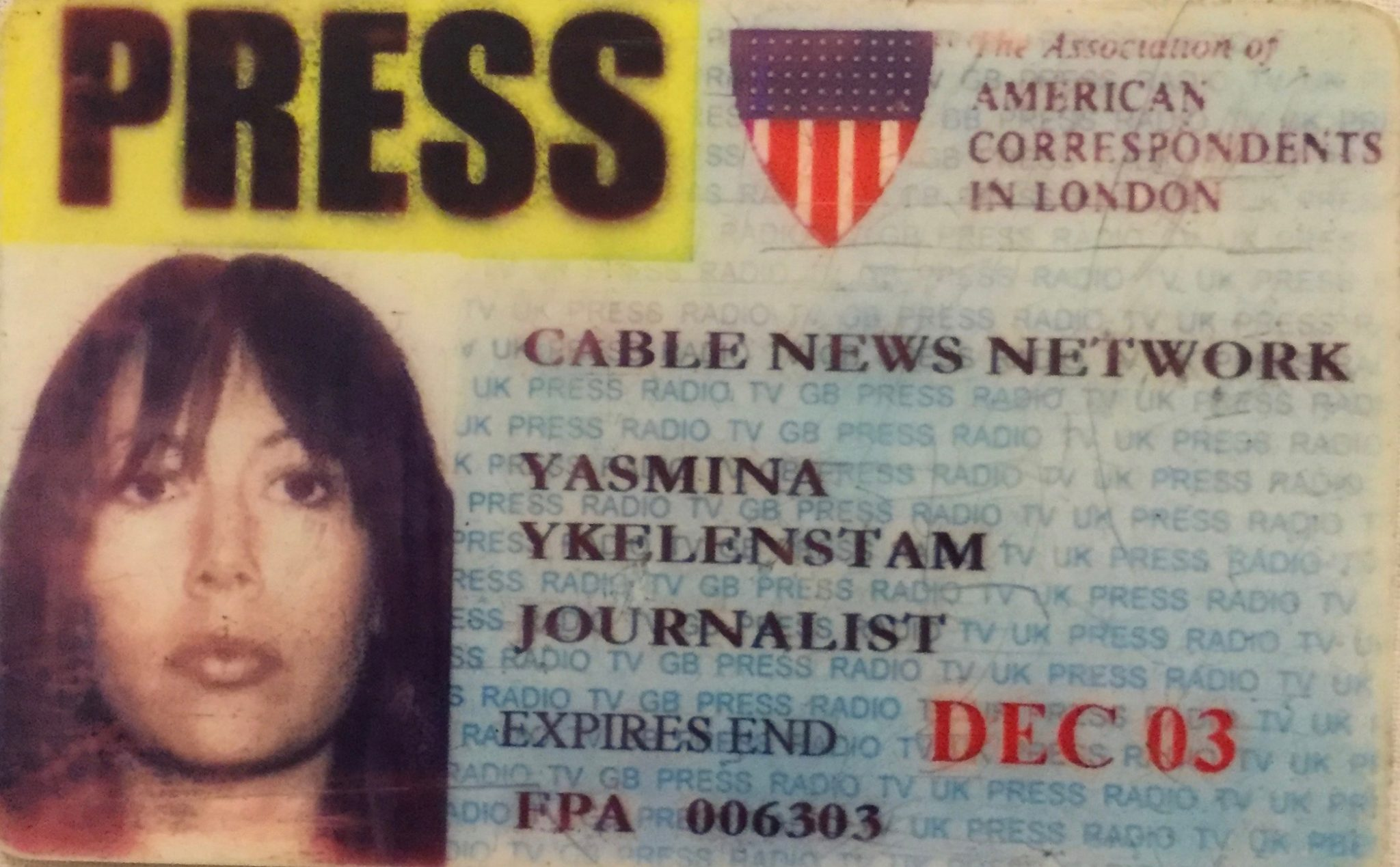 Another CNN London press card – American Correspondents in London